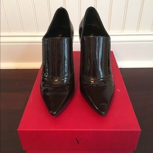 Valentino Dark Brown Patent Booties
